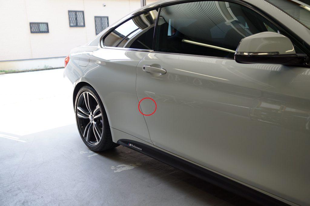 BMW4シリーズ ドアのヘコミ